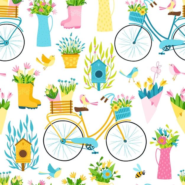 Padrão sem emenda de primavera em estilo cartoon simples mão desenhada. ilustração colorida infantil de uma bicicleta, gaiola com pequenos pássaros entre vasos de flores, buquês, vasos. tema de jardinagem. Vetor Premium