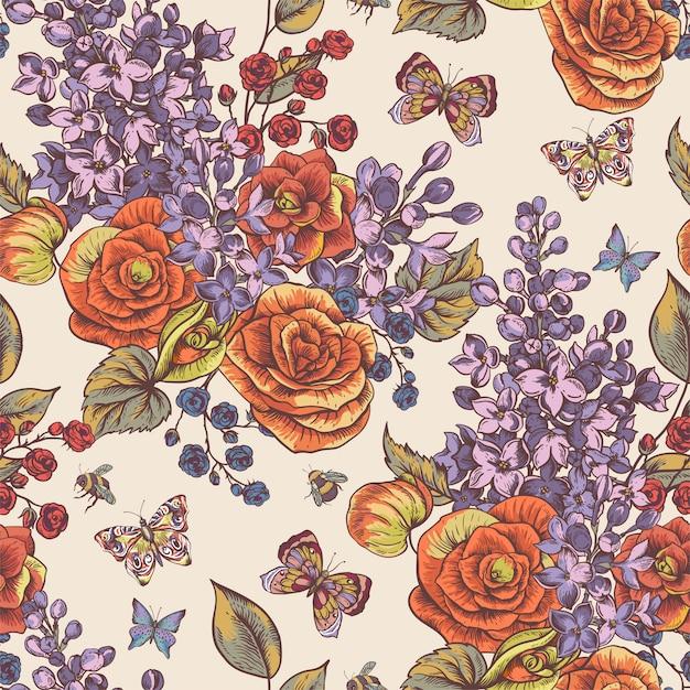 Padrão sem emenda de primavera vintage com flores desabrochando de begônia, lilás Vetor Premium