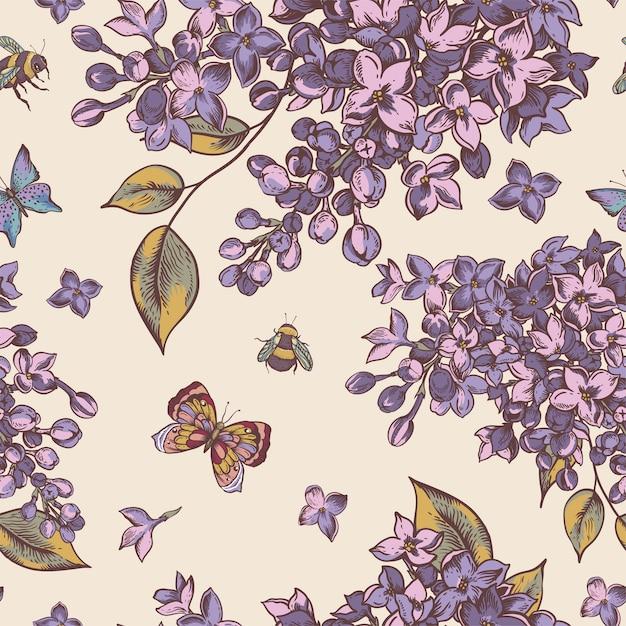 Padrão sem emenda de primavera vintage com flores desabrochando de lilás Vetor Premium