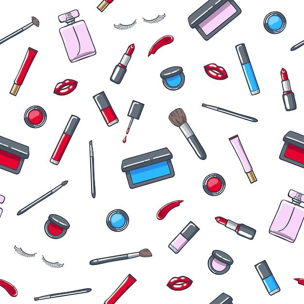 Padrão sem emenda de produtos de cosméticos maquiagem. Vetor Premium