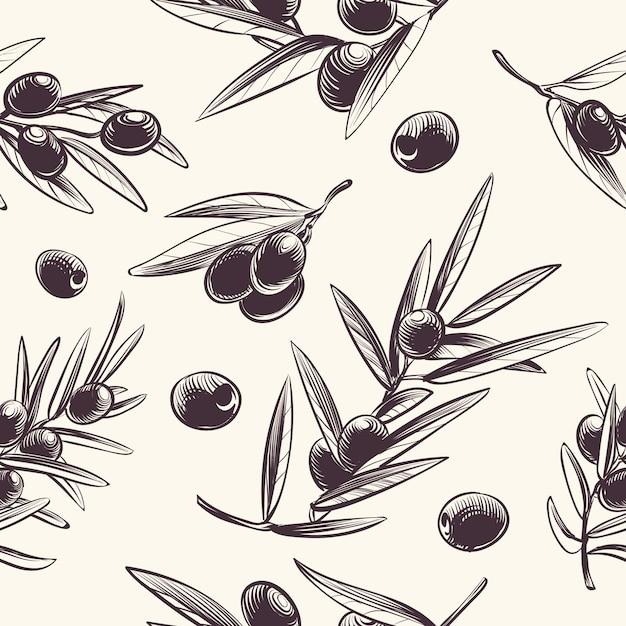 Padrão sem emenda de ramos de oliveira. azeitonas mediterrânicas ramificação textura. Vetor Premium