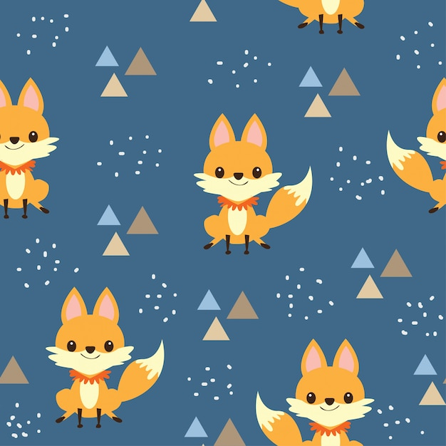 Padrão sem emenda de raposa bebê fofo Vetor Premium