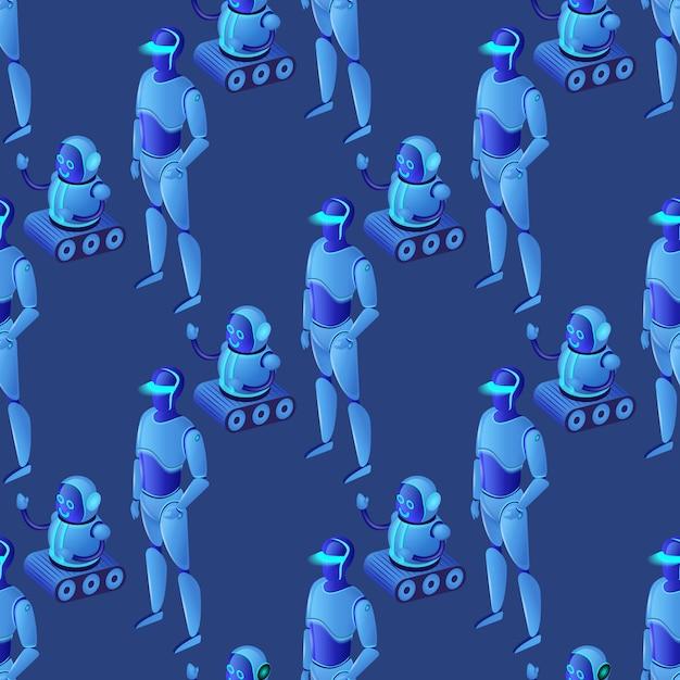 Padrão sem emenda de robôs ai modernos brilhantes Vetor Premium