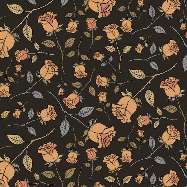 Padrão sem emenda de rosas vintage em um fundo preto. Vetor Premium