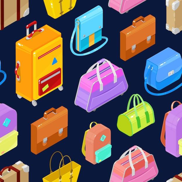 Padrão sem emenda de sacos coloridos isométricos e malas Vetor Premium