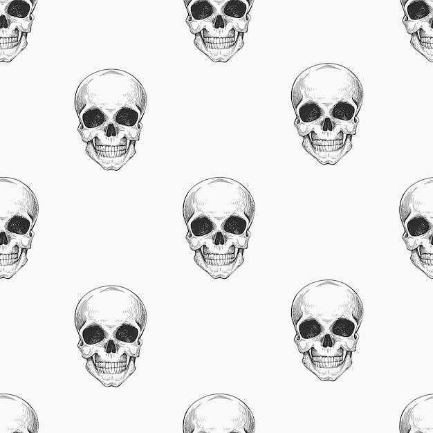 Padrão sem emenda de scull humano. ilustração de esqueleto desenhada de mão. Vetor Premium
