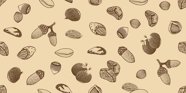 Padrão sem emenda de sementes orgânicas Vetor grátis