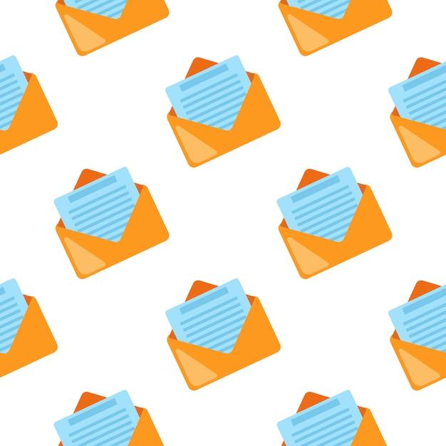 Padrão sem emenda de símbolo de correio em branco Vetor Premium