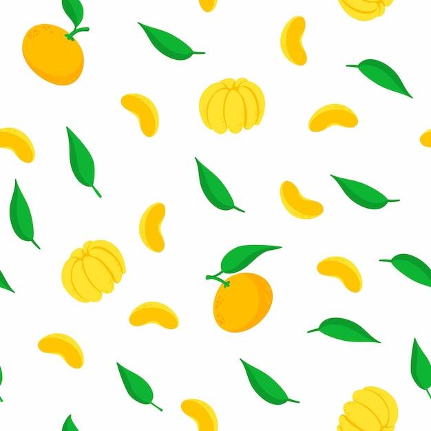 Padrão sem emenda de tangerinas. Vetor grátis