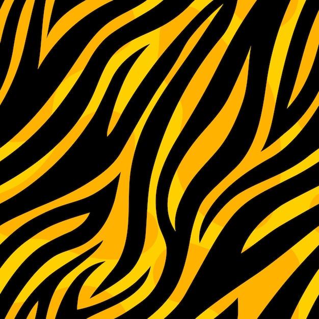 Padrão sem emenda de tigre amarelo moderno. textura de repetição de pele de animal selvagem Vetor Premium