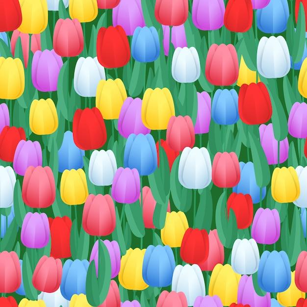 Padrão sem emenda de tulipas cor primavera Vetor Premium