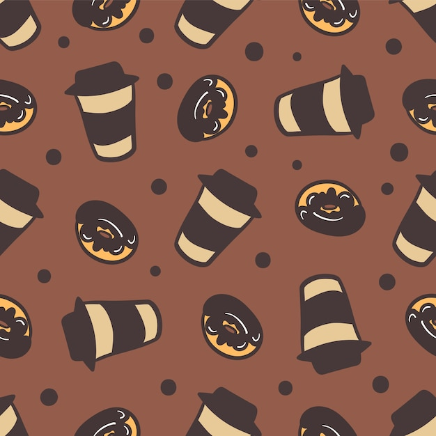 Padrão sem emenda de uma xícaras de café e deliciosos donuts. Vetor Premium