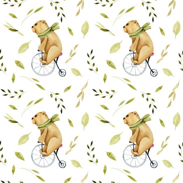 Padrão sem emenda de ursos bonitos aquarela em uma bicicleta Vetor Premium