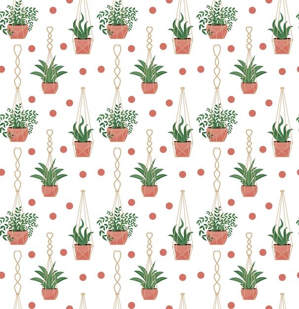 Padrão sem emenda de vasos de flores em vasos de macramé, estilo escandinavo moderno, textura infinita de plantas suspensas. Vetor Premium