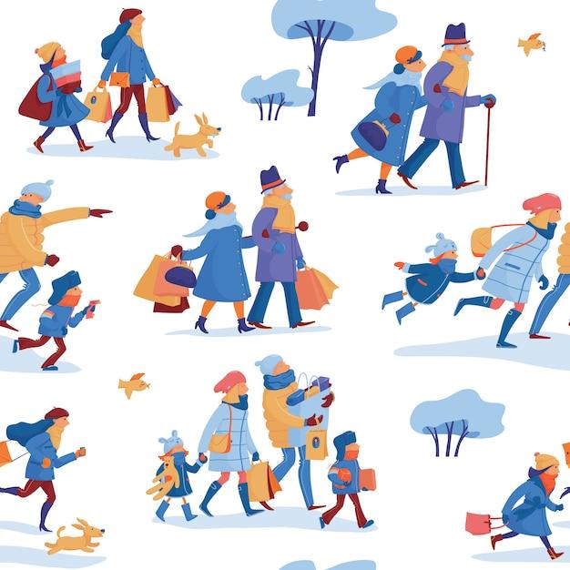 Padrão sem emenda de venda de inverno com a família do pai, mãe e filhos, amigos e casal mais velho em roupas quentes, correndo Vetor Premium