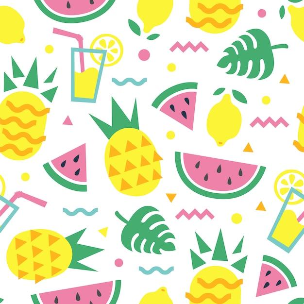 Padrão sem emenda de verão com folhas de abacaxi, fatia de melancia, limão, coquetel e monstera. design de impressão de moda Vetor Premium