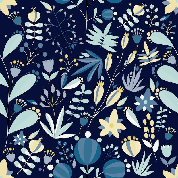 Padrão sem emenda de verão com lindas flores desabrochando no jardim, plantas selvagens e bagas sobre fundo azul. bonito cenário floral. ilustração plana para impressão de tecido, papel de embrulho. Vetor Premium