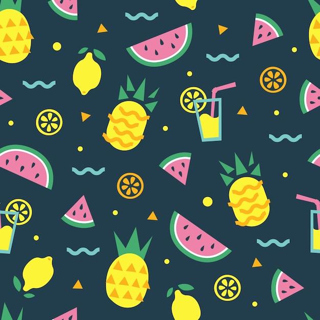 Padrão sem emenda de verão com melancia, abacaxi, coquetel, limão, laranja Vetor Premium