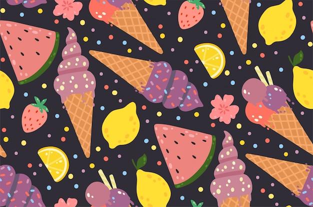 Padrão sem emenda de verão com sorvete, limões, morangos, flores e melancias. Vetor Premium