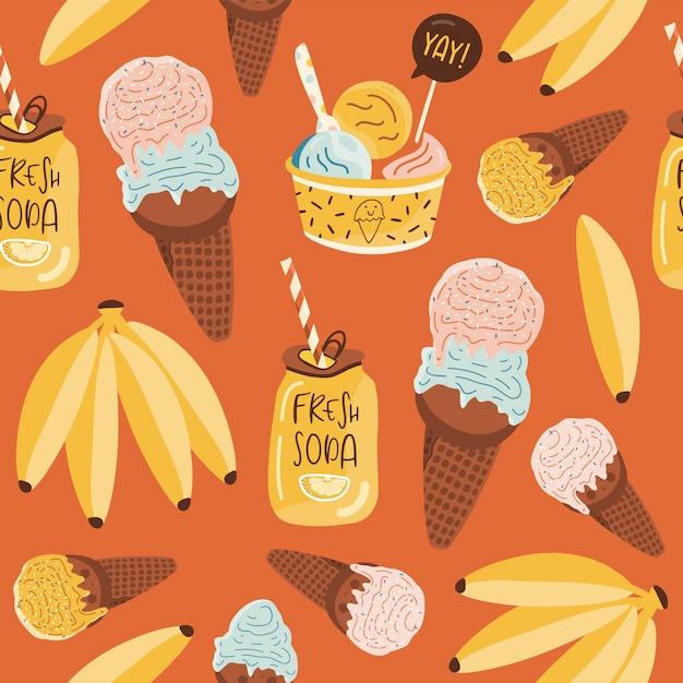 Padrão sem emenda de verão com sorvete. Vetor Premium