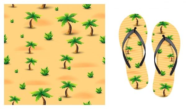 Padrão sem emenda de verão laranja com palmeiras e plantas tropicais no deserto. design de padrão para impressão em chinelos. visualização de chinelos Vetor Premium