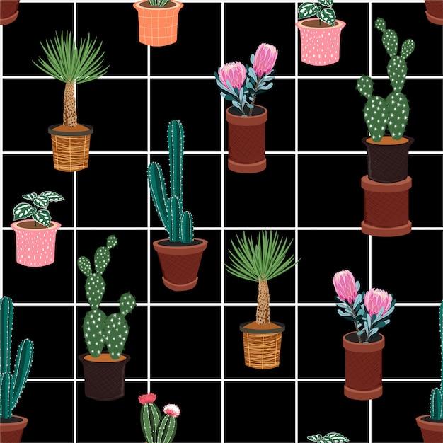 Padrão sem emenda de vetor bonito com diferentes cactos em muitos tipos de vasos na janela verificar linha branca Vetor Premium