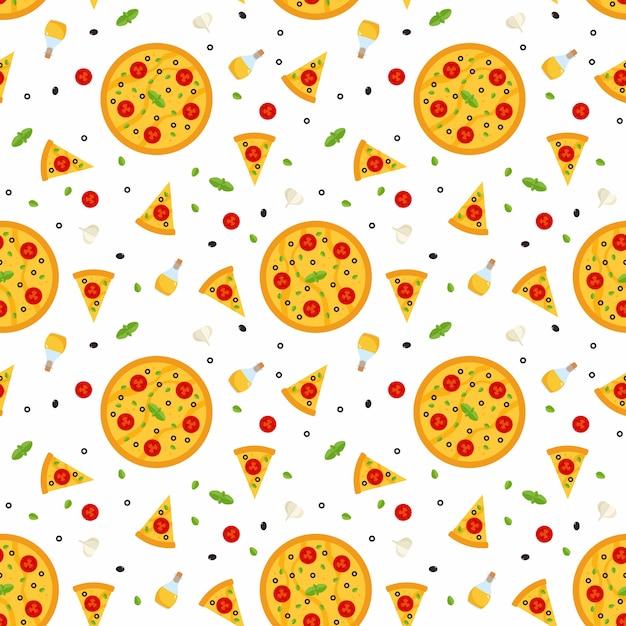 Padrão sem emenda de vetor brilhante com pizza Vetor Premium
