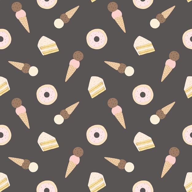 Padrão sem emenda de vetor com bolos, donuts e sorvete. Vetor Premium