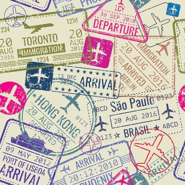 Padrão sem emenda de vetor com carimbos de visto de passaporte Vetor Premium