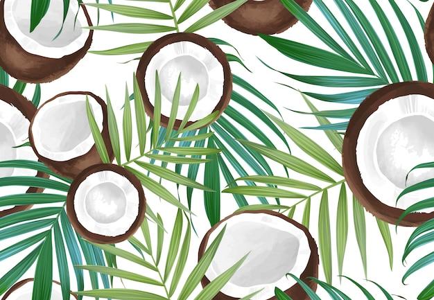 Padrão sem emenda de vetor com coco. frutas exóticas tropicais Vetor Premium