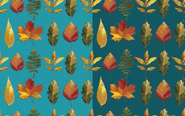 Padrão sem emenda de vetor com conjunto de folhas de outono. fundo com aspen; amieiro; olmo; salgueiro; bordo; carvalho; potentilla. Vetor Premium