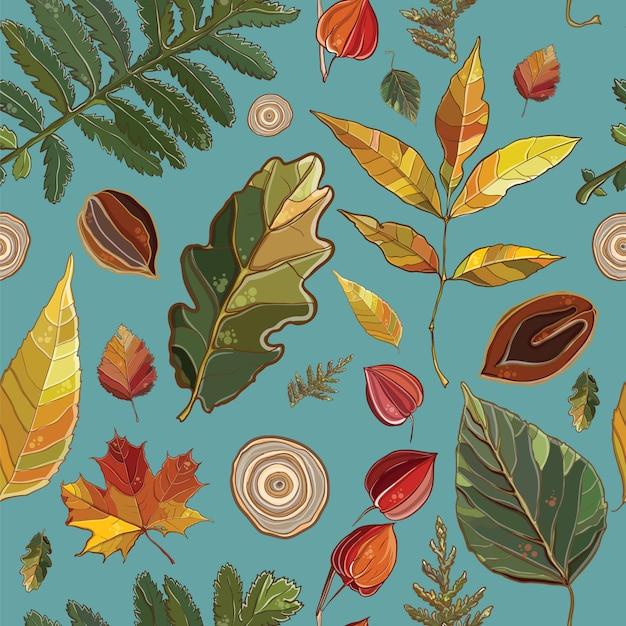 Padrão sem emenda de vetor com conjunto de folhas de outono, nozes, árvore. fundo com thuja; aspen; physalis; amieiro; olmo; salgueiro; bordo; carvalho; potentilla. Vetor Premium