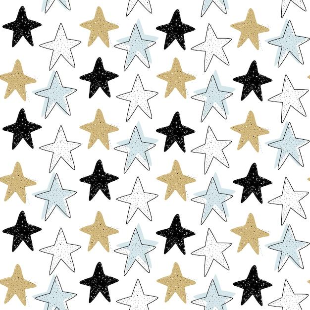 Padrão sem emenda de vetor com estrelas do mar Vetor Premium