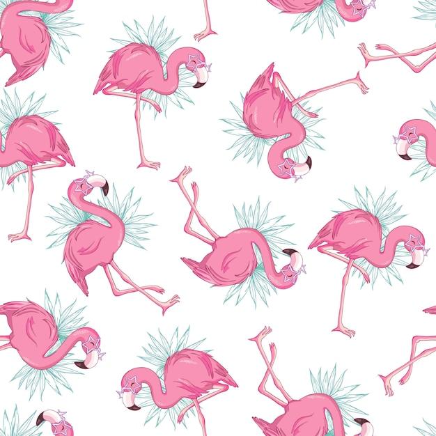 Padrão sem emenda de vetor com flamingos Vetor Premium
