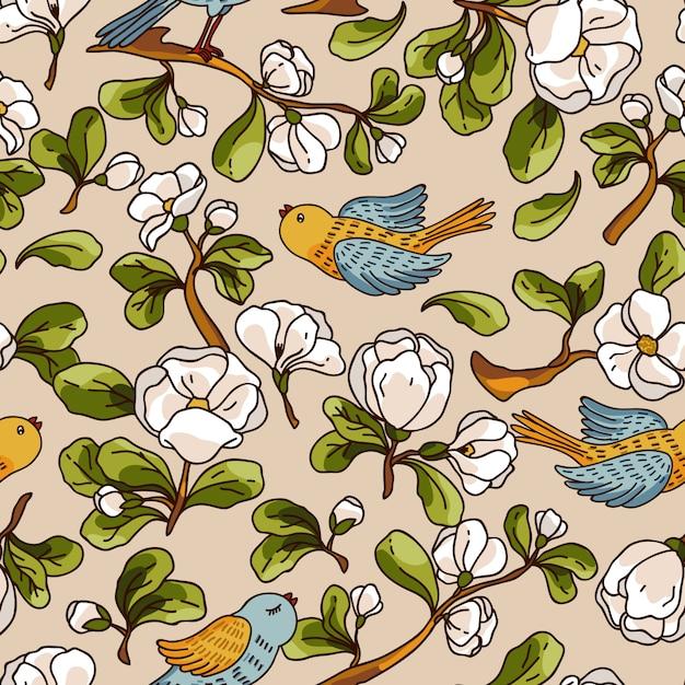 Padrão sem emenda de vetor com flor de maçã e pássaros. bela mão desenhada textura. Vetor Premium