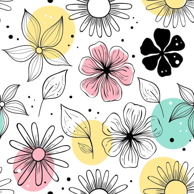 Padrão sem emenda de vetor com flores. motivos escandinavos. Vetor Premium