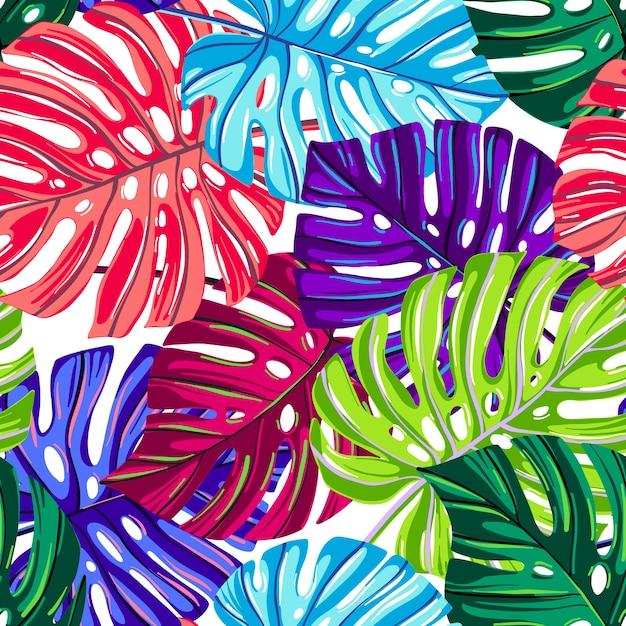 Padrão sem emenda de vetor com folhas tropicais. monstera deixa a textura de cores de fantasia. Vetor Premium