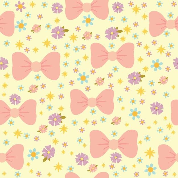 Padrão sem emenda de vetor com manti rosa e flores, tons pastel, textura romântica para crianças Vetor Premium