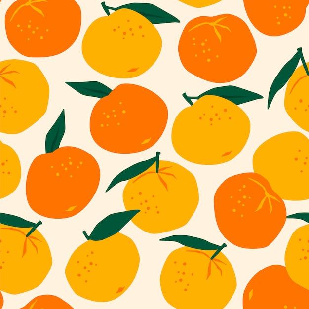 Padrão sem emenda de vetor com tangerinas Vetor Premium