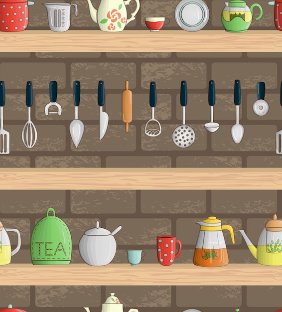 Padrão sem emenda de vetor com utensílios de cozinha coloridos nas prateleiras Vetor Premium