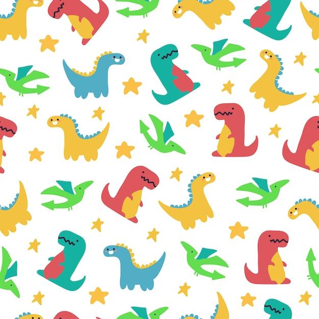 Padrão sem emenda de vetor de dinossauros fofos para papel de parede Vetor Premium