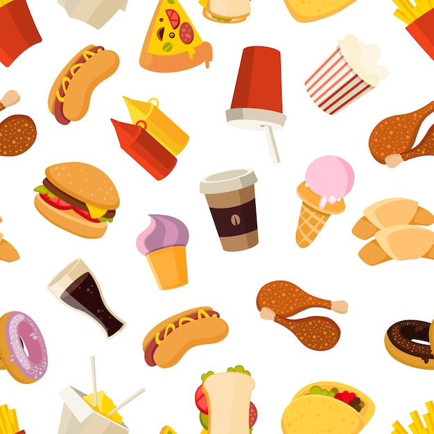 Padrão sem emenda de vetor de fast-food Vetor Premium