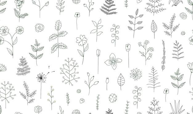 Padrão sem emenda de vetor de flores preto e brancas, ervas, plantas. pacote monocromático de elementos de design natural. estilo dos desenhos animados. Vetor Premium