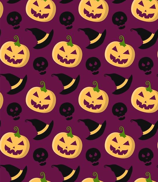 Padrão sem emenda de vetor de halloween com abóbora, caveira, chapéu de bruxa em moderno estilo simples. Vetor Premium