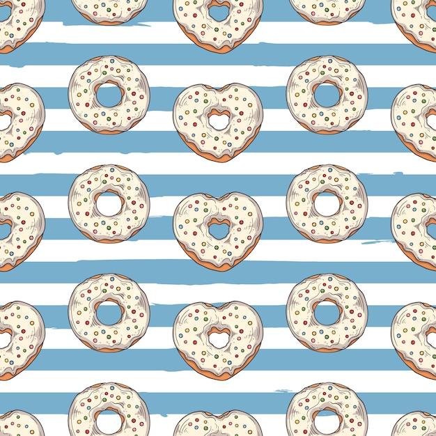 Padrão sem emenda de vetor. donuts vitrificados decorados com coberturas, chocolate, nozes. Vetor Premium