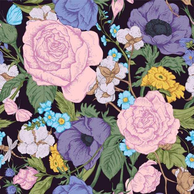 Padrão sem emenda de vetor floral vintage com rosas Vetor Premium