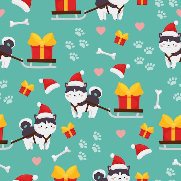 Padrão sem emenda de vetor infantil de cão husky siberiano com trenó e presente. natal e feliz ano novo Vetor Premium