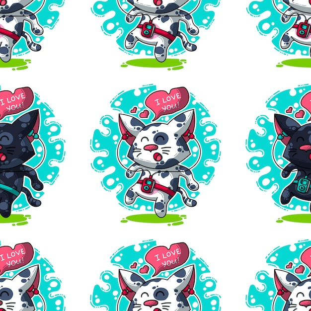 Padrão sem emenda de vetor sobre gatos no amor Vetor Premium