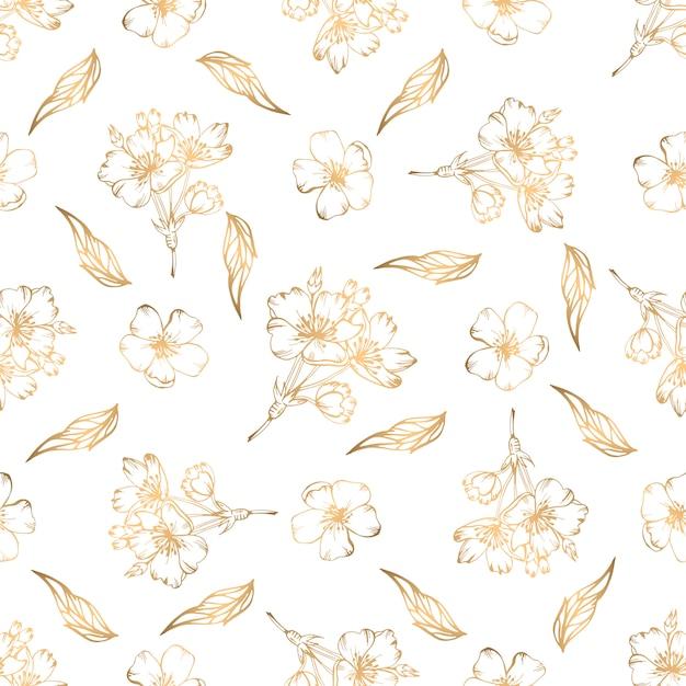 Padrão sem emenda desenhada de mão com elementos florais dourados Vetor Premium