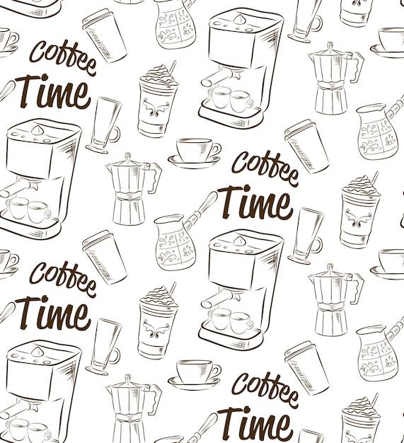 Padrão sem emenda desenhada de mão com o conceito de café. Vetor Premium
